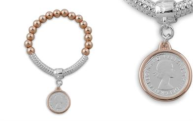 Von Treskow's sterling silver and rose gold coin bracelet