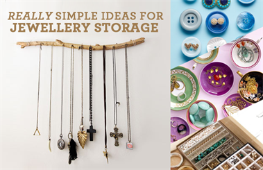 Really simple DIY jewellery storage ideas and inspiration.