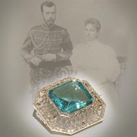 Diamond and aquamarine brooch by Carl Fabergé; a gift from Tsar Nicholas II to Princess Alix of Hesse on the occasion of their engagement