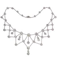 Platinum and diamond fringe necklace, circa 1900
