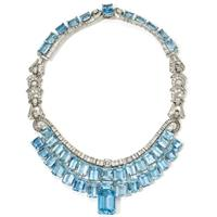 Art deco diamond and aquamarine necklace by Olga Tritt, circa 1939