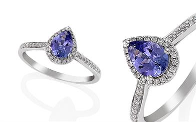 Protea Diamonds' white gold, tanzanite and diamond ring