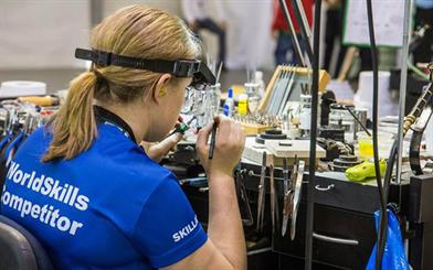 The WorldSkills international jewellery competitors were required to manufacture a brooch design within 22 hours