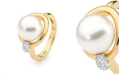 Allure South Sea Pearls' white and yellow gold ring