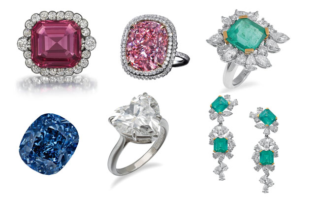 Clockwise from top left: the Hope Spinel; Christie's 16.08-carat pink diamond; the ring and earrings from Leonard Joel's record-breaking emerald and diamond suite; Leonard Joel's Tiffany ring; Sotheby's 12.03-carat Blue Moon