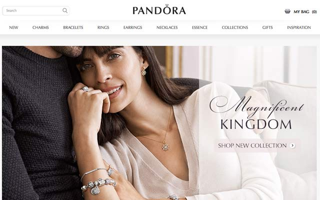 Australian customers can now purchase Pandora jewellery online through the  brand's new e-store