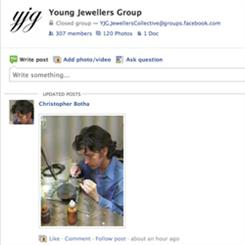 The Young Jewellers' Facebook page is continually growing in numbers and interaction between members