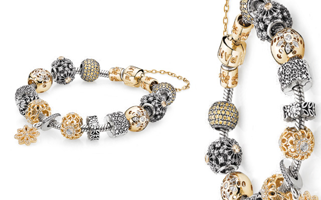 Pandora S Sterling Silver And Gold Charm Bracelet