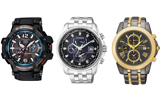 A selection of Casio, Citizen and Seiko watches