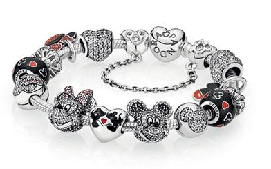 Popular characters Mickey and Minnie Mouse are featured in Pandora's new Disney collection
