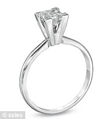 A Zales copy of the stolen diamond engagement ring