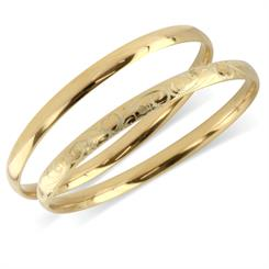 Worth & Douglas's' 9ct gold bangles - one plain and one engraved