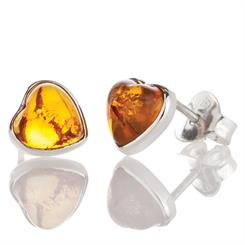 Amber shines in this pair of sterling silver stud earrings - perfect for Valentine's Day