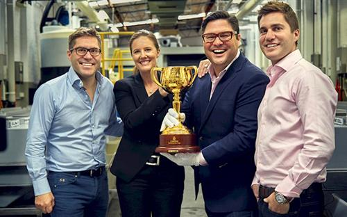 (L–R) ABC Bullion managing directors Phillip Cochineas and Janie Simpson, Pallion CEO Andrew Cochineas and Pallion COO Paul Cochineas