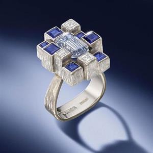 The Andrew Grima-designed, 2.97-carat greyish-blue diamond ring