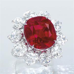 The Crimson Flame, a 15.04-carat Burmese ruby ring