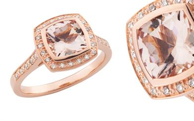Mark McAskill Jewellery's cushion cut morganite and diamond rose gold ring