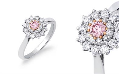 Pink Kimberley's 18-carat rose and white gold ring
