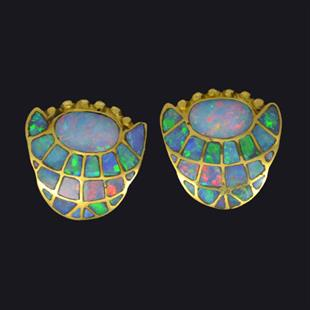 Opal inlay earrings by David Freeland Jnr