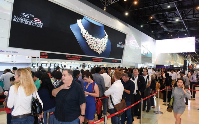 Visitors line up at a previous Bangkok Gems & Jewelry Fair