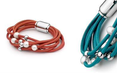 Ikecho Pearl Company's leather and stainless steel bracelets