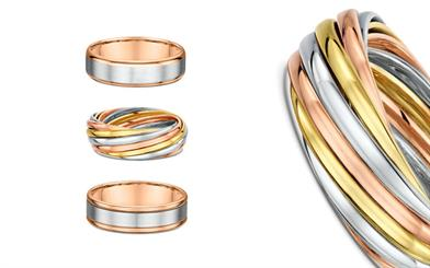 A selection of Dora's rose gold wedding rings