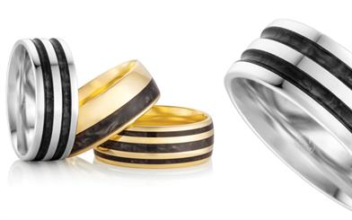 A selection of Peter W Beck's Spectrum wedding rings