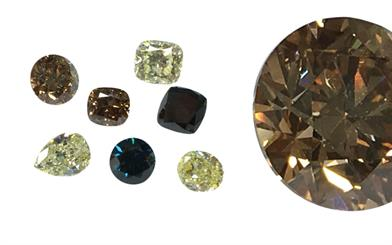 A selection of World Shiner's coloured diamonds