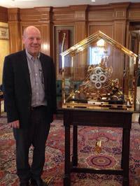 Robert Bray visiting in Qatar setting up an H1 replica clock