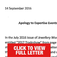 Jewellery World apology