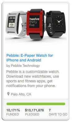 As of 11th May with 7 days of funding left, Pebble exceeds its $100,000 goal.