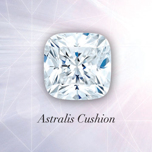 Astralis Cushion Diamond - A modern interpretation of a cut popular over one hundred years ago, the Astralis Cushion features over 70 facets. As with all Astralis diamonds, look for the Astralis star - your visual assurance of cutting excellence.