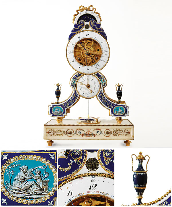 Joseph COTEAU (enameller) French 1740–1801 Skeleton clock c.1793-95 gilt and enamelled bronze (chased), marble 43.0 x 26.0 x 14.0 cm