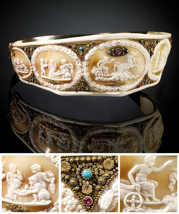 FRANCE Empress Josephine's shell cameo diadem, presented to her by her brother-in-law Joachim Murat Empire period 1804–15 gold, shell, mother-of-pearl, cameos, pearls, precious and semi-precious stones 6.7 x 17.0 x 20.0 cm.