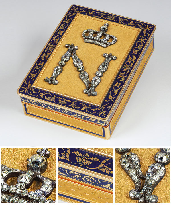 Victoire BOIZOT French active 1808–13 Box with a crowned N monogram Empire period 1804–15 gold, diamonds, enamel 2.0 x 5.6 x 7.7 cm (closed).