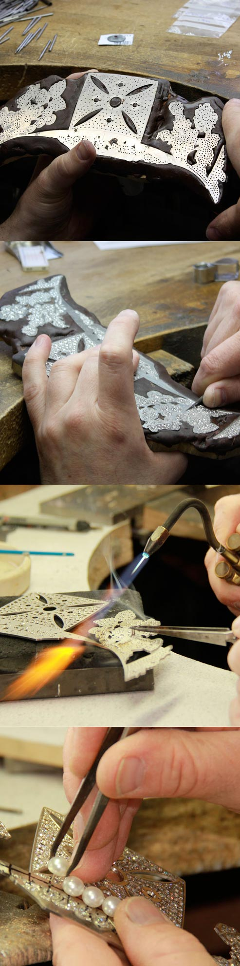 The tiara in the hands of an Asprey Master Jeweller, from solder to setting.