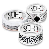 Each Soho Ring is made from materials such as sterling silver, steel, titanium and 9ct gold. Some styles are set with black diamonds or onyx.