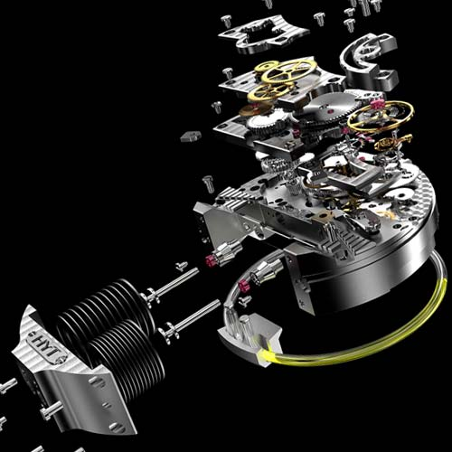 A campaign shot of the deconstructed H1 Hyrdo Mechanical Watch.