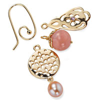 Earring hooks come in 14ct gold & sterling silver, with a variation of stones like Pink Pearl & Amethyst in the pendants.