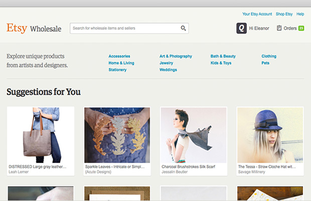 Etsy Wholesale creates a global business-to-business online marketplace