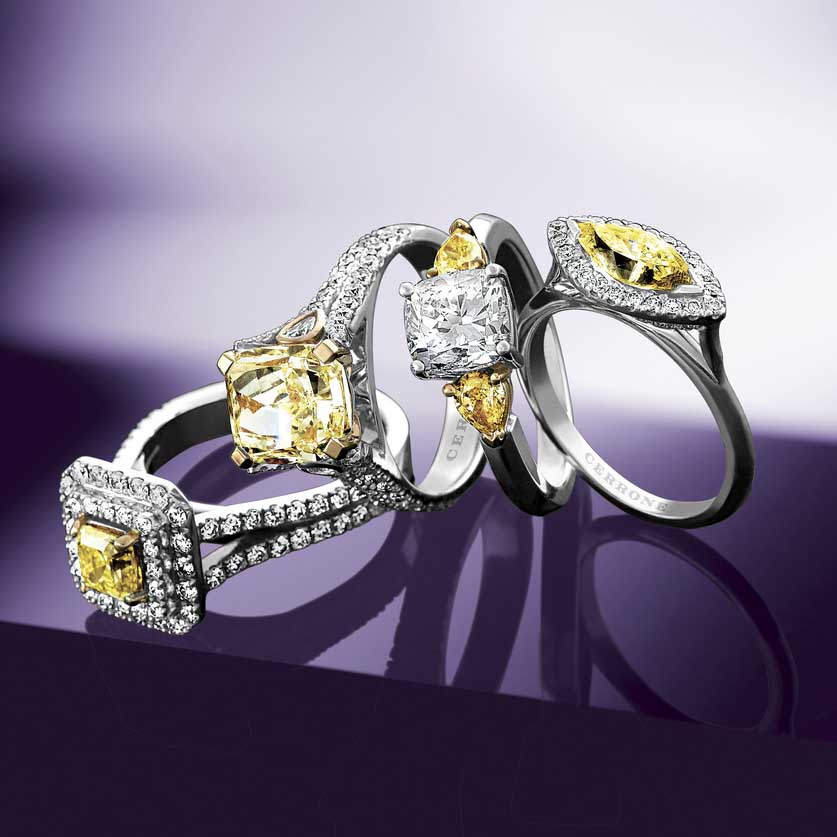 Cerrone's designs regularly incorporate Tolkowsky Diamonds